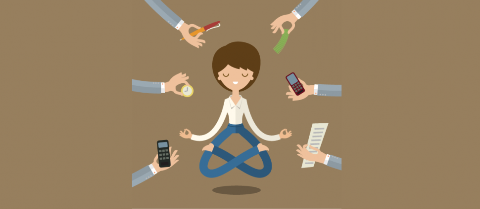 cartoon of woman meditating while hands all around her offer distractions like a phone call.
